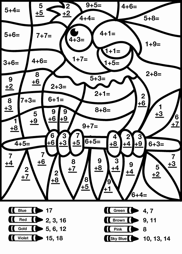 Coloring Addition Worksheet Unique Color by Number Addition Best Coloring Pages for Kids