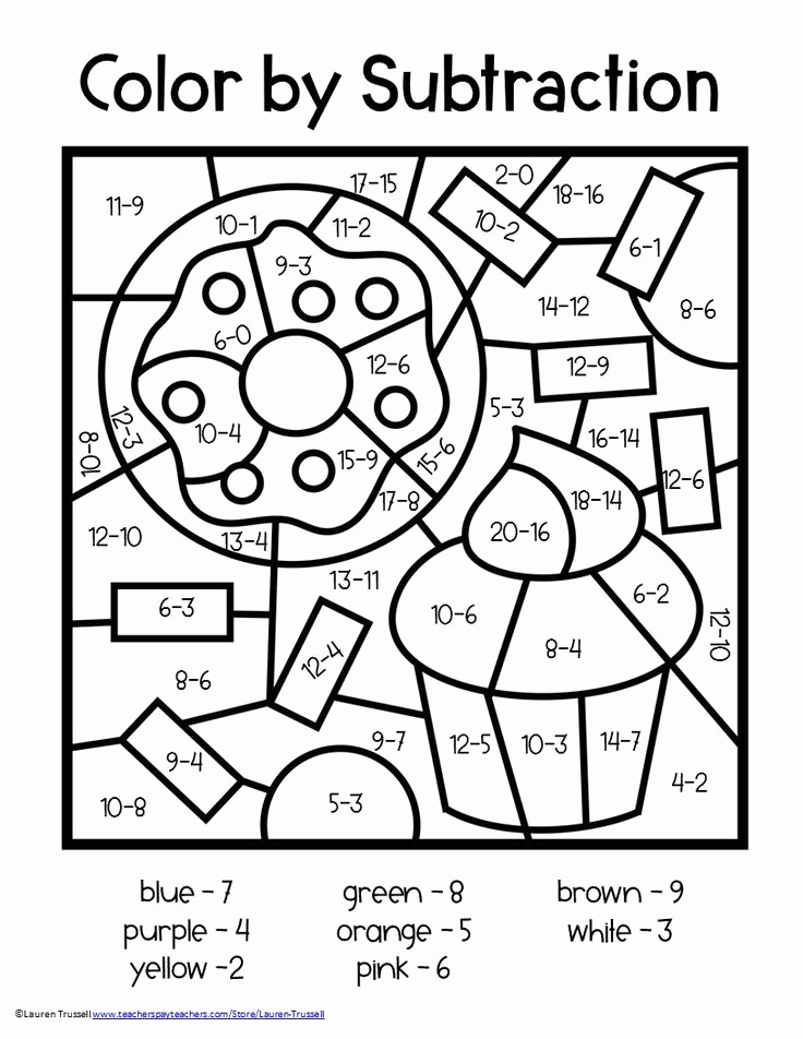 Coloring Math Worksheets 2nd Grade Inspirational Subtraction Math Elementary Centers Early Finishers