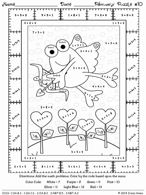 Coloring Math Worksheets 2nd Grade New 2nd Grade Math Color by Number Coloring Pages Sketch