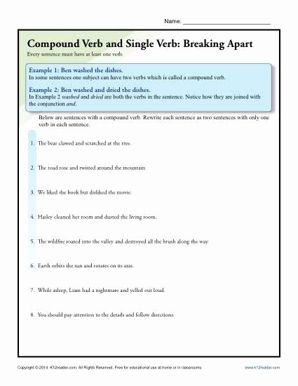 Combining Sentences Worksheets 5th Grade Awesome Bining Sentences Worksheets 5th Grade Pound Verb and