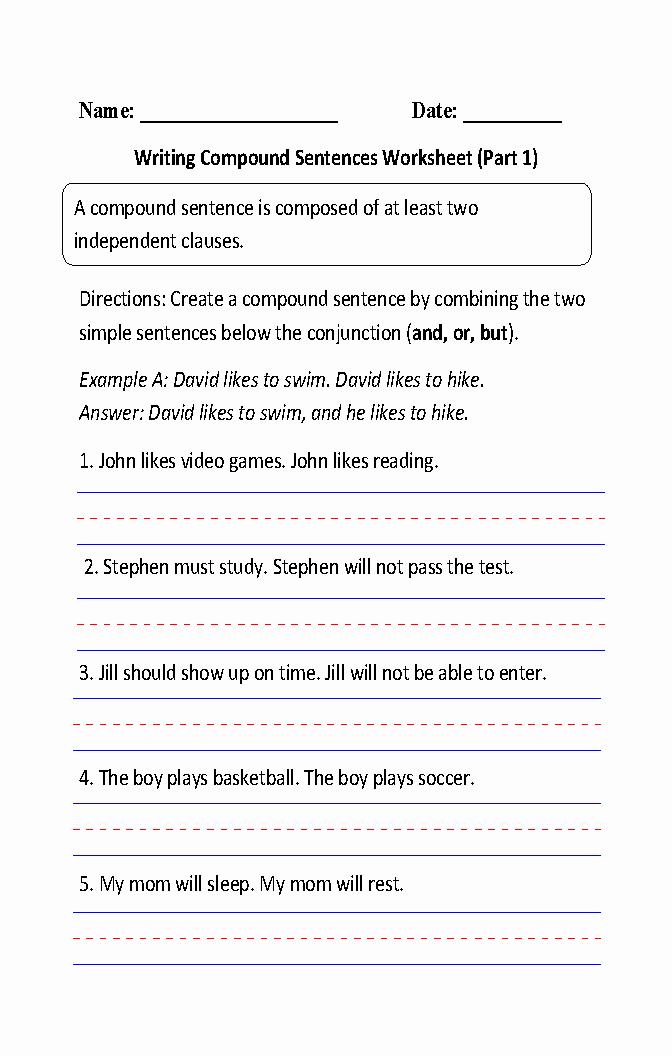 Combining Sentences Worksheets 5th Grade Fresh Simple and Pound Sentences Worksheet 5th Grade