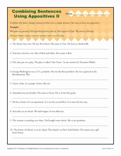Combining Sentences Worksheets 5th Grade Lovely 20 Bining Sentences Worksheet 5th Grade