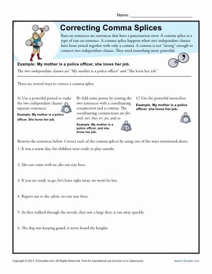 Comma Worksheet Middle School Pdf Inspirational Correcting Ma Splices