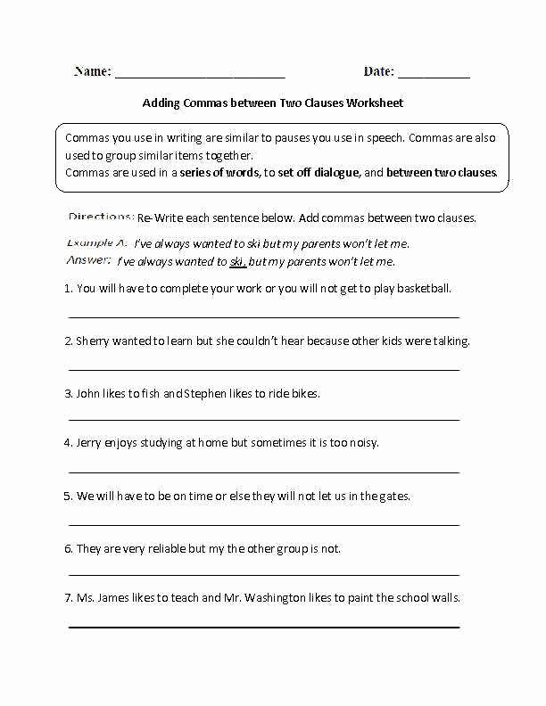Comma Worksheet Middle School Pdf Inspirational Mas In A Series Worksheet