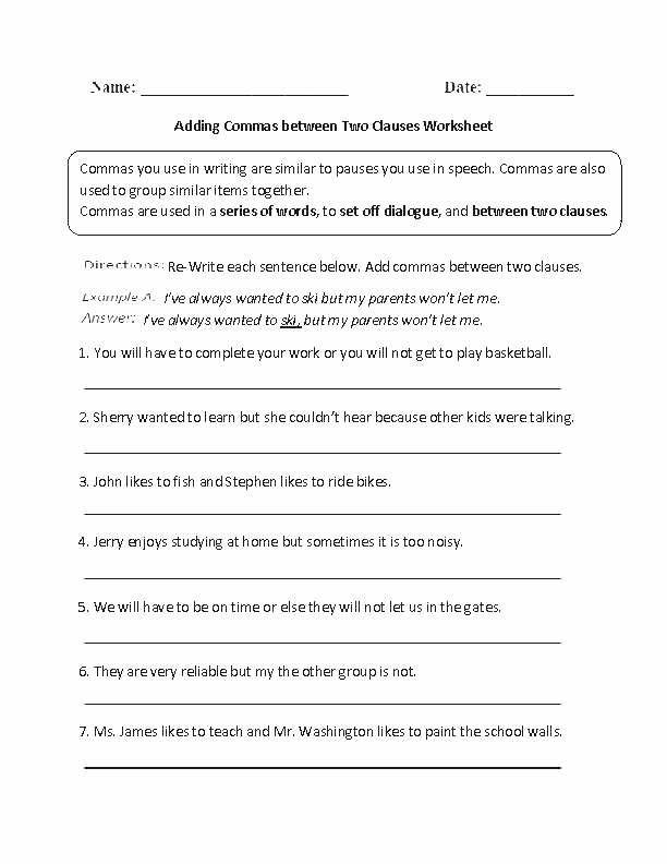 Commas Worksheet 4th Grade Beautiful 25 Mas Worksheet 4th Grade