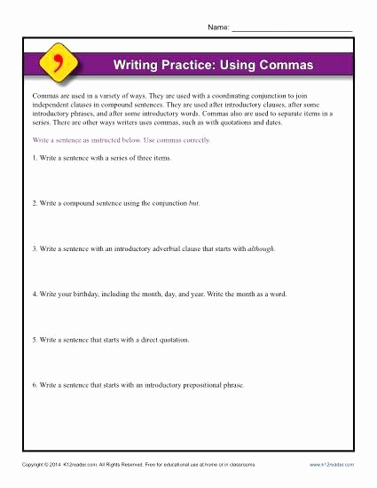 Commas Worksheet 4th Grade Best Of 25 Mas Worksheet 4th Grade