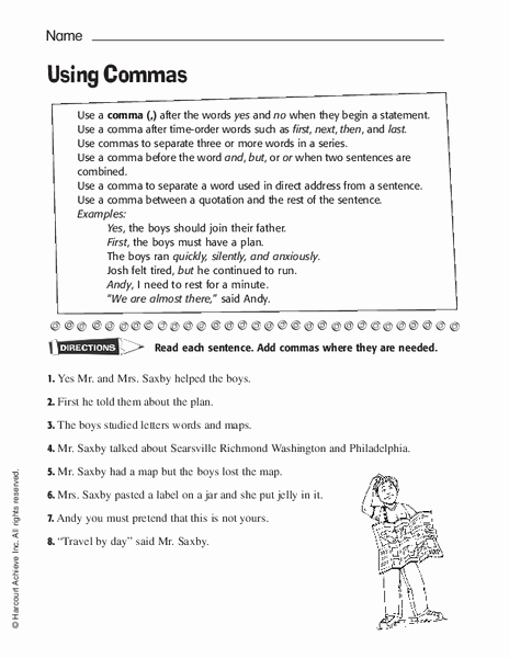 Commas Worksheet 4th Grade Inspirational Using Mas Worksheet for 3rd 4th Grade