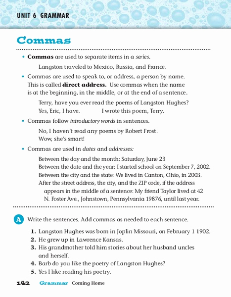 Commas Worksheet 4th Grade Lovely Mas Worksheet for 3rd 4th Grade