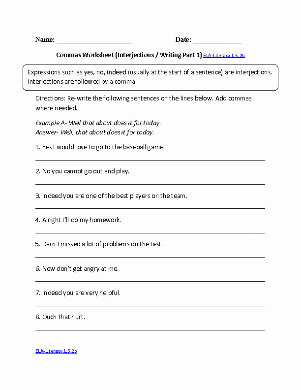 Commas Worksheet 5th Grade Awesome 5th Grade Mon Core