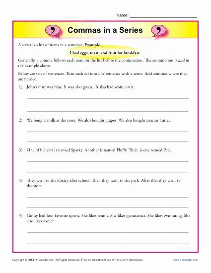Commas Worksheet 5th Grade Fresh 20 Mas Worksheet 5th Grade