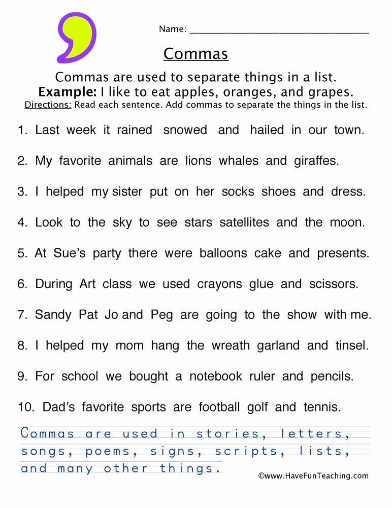 Commas Worksheet 5th Grade Lovely Ma Worksheet 3