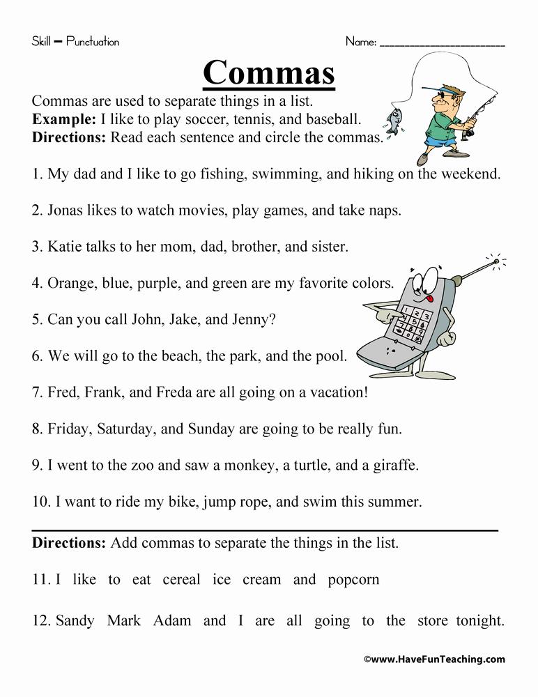 Commas Worksheet 5th Grade Luxury Ma Worksheet Have Fun Teaching