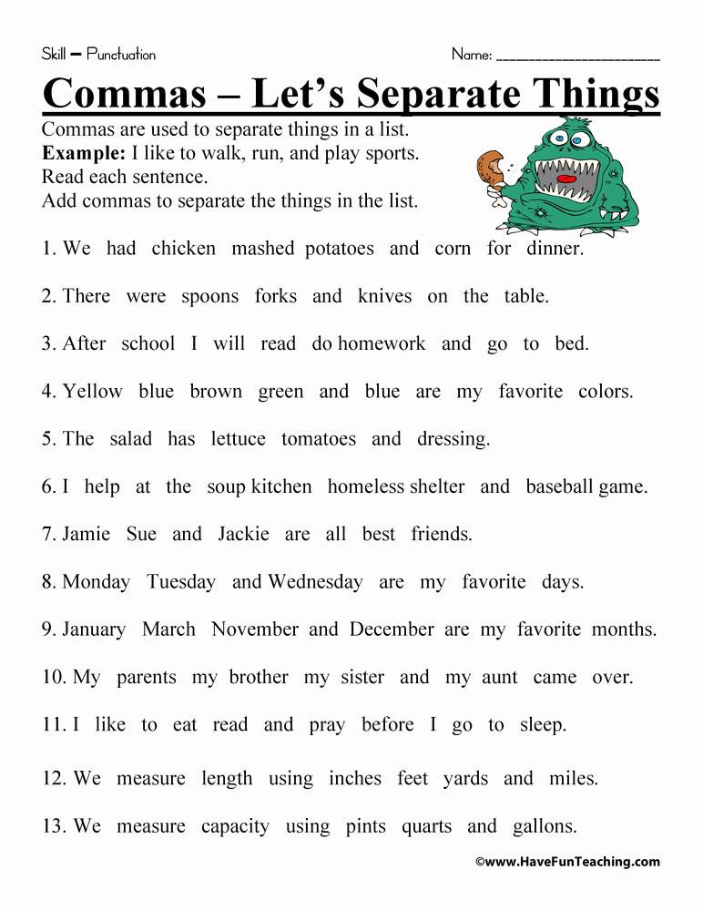 Commas Worksheet 5th Grade New 20 Mas Worksheet 5th Grade