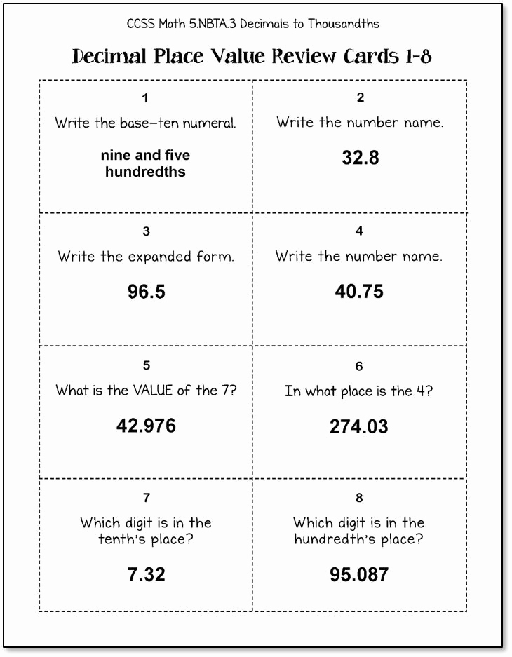 Common Core Worksheets Place Value Luxury Decimal Place Value Task Cards 5th Grade Mon Core