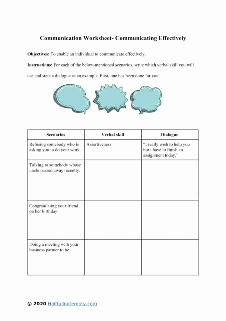 Communication Worksheets for Adults Lovely Effective Munication Worksheets Adults