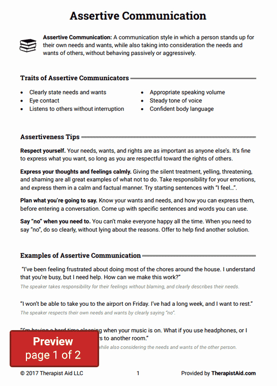 Communication Worksheets for Adults Luxury assertive Munication Worksheet