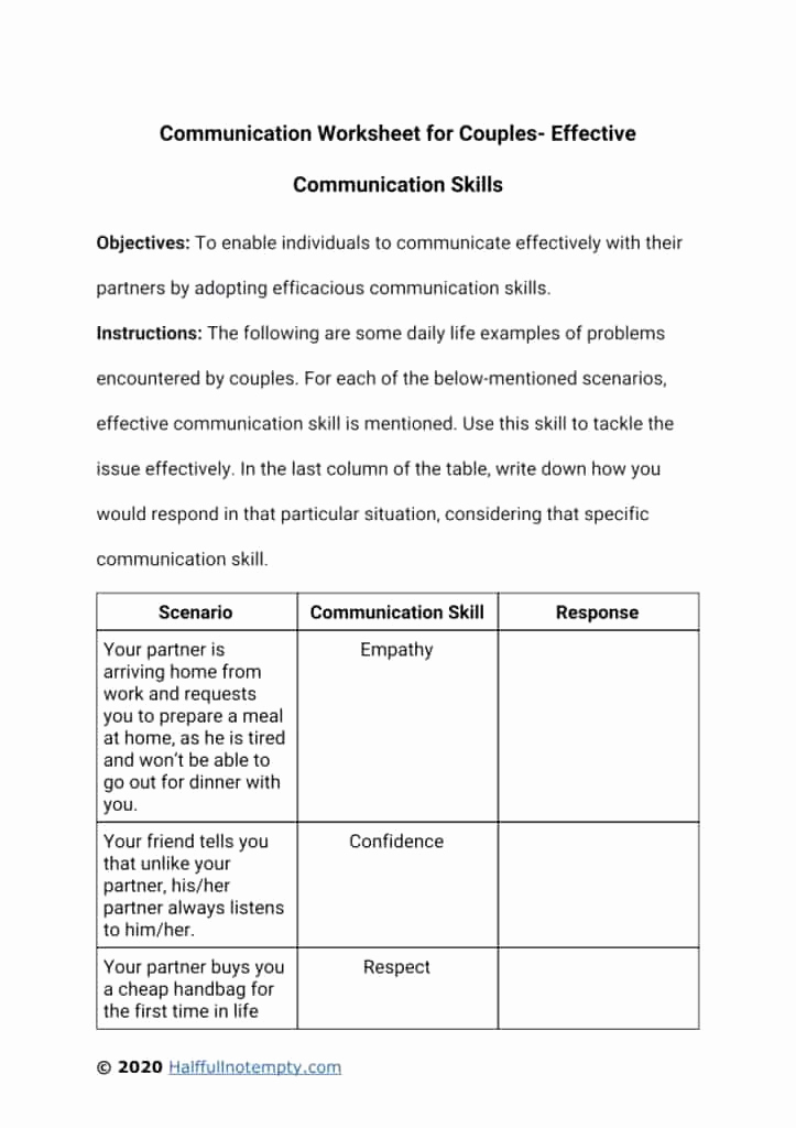 Communication Worksheets for Adults New Effective Munication Worksheets Adults