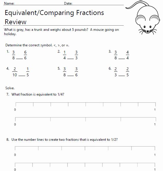 Comparing Fractions Third Grade Worksheet Awesome Equivalent and Paring Fractions 3rd Grade Review