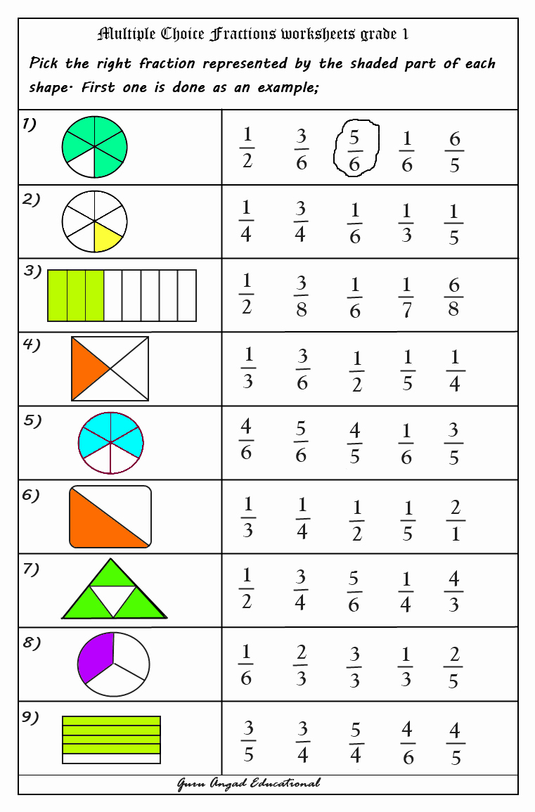Comparing Fractions Third Grade Worksheet Unique Use Multiple Choice Questions In Fractions Worksheets
