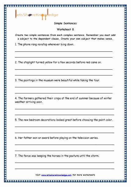 Complex Sentence Worksheets 3rd Grade Elegant 20 Plex Sentence Worksheets 3rd Grade Suryadi