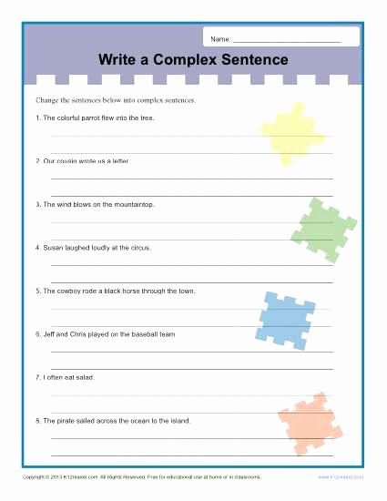 Complex Sentence Worksheets 3rd Grade Lovely 20 Plex Sentence Worksheets 3rd Grade Suryadi