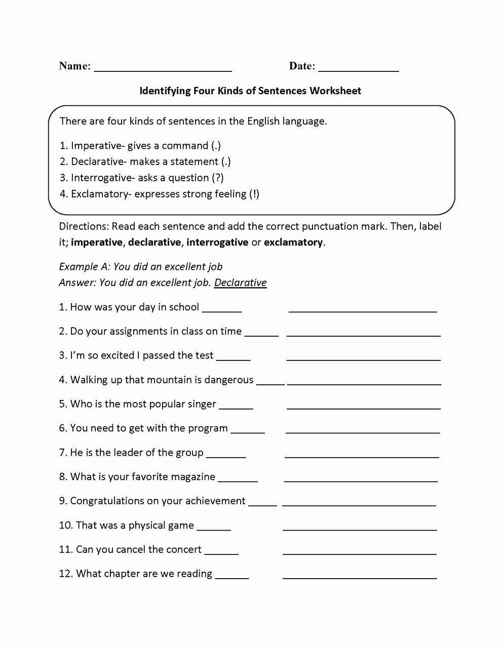 Complex Sentence Worksheets 3rd Grade Unique 3rd Grade Types Sentences Worksheets Grade 3