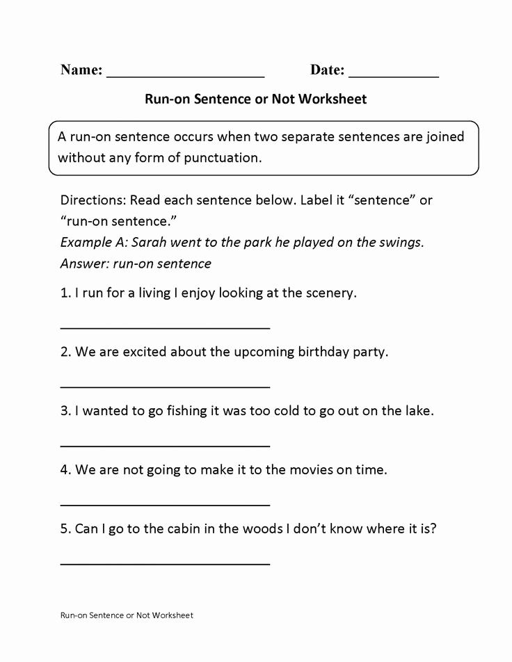 Complex Sentence Worksheets 4th Grade Awesome 10 Run Sentence Worksheet 4th Grade