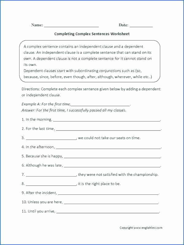 Complex Sentence Worksheets 4th Grade Awesome Plete Sentence Worksheets 4th Grade 4th Grade Sentences