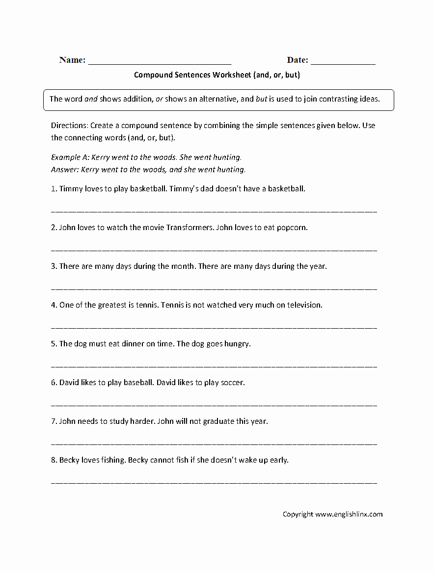 Complex Sentence Worksheets 4th Grade Beautiful Bining Sentences 4th Grade Worksheets — Excelguider