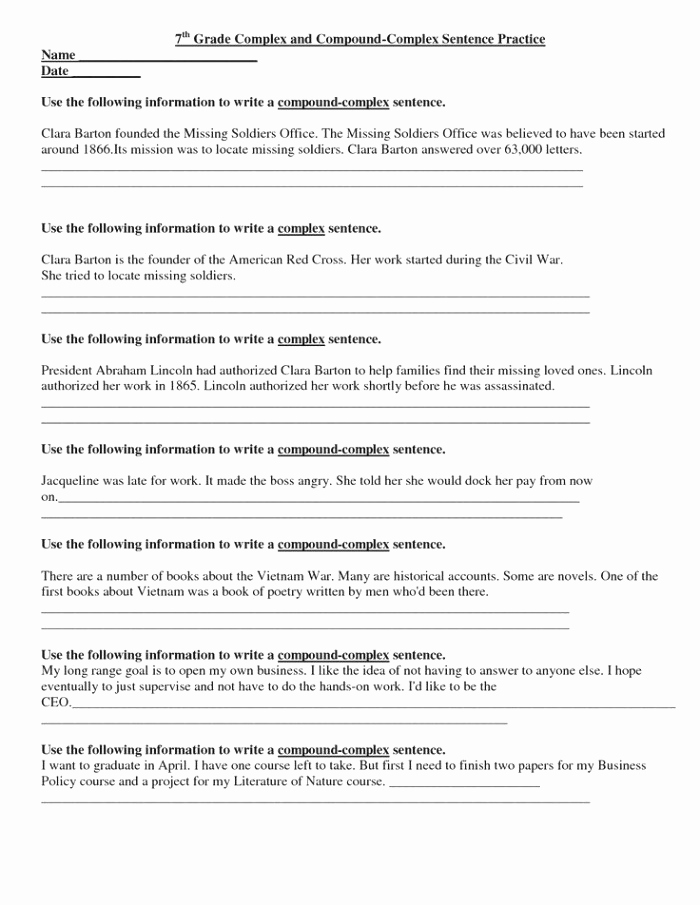 Complex Sentence Worksheets 4th Grade Unique Plex Sentences Worksheets 4th Grade – Super Worksheets