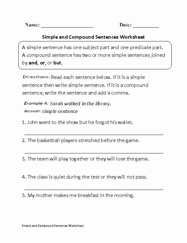 Complex Sentences Worksheets with Answers Awesome Simple and Pound Sentences Worksheet