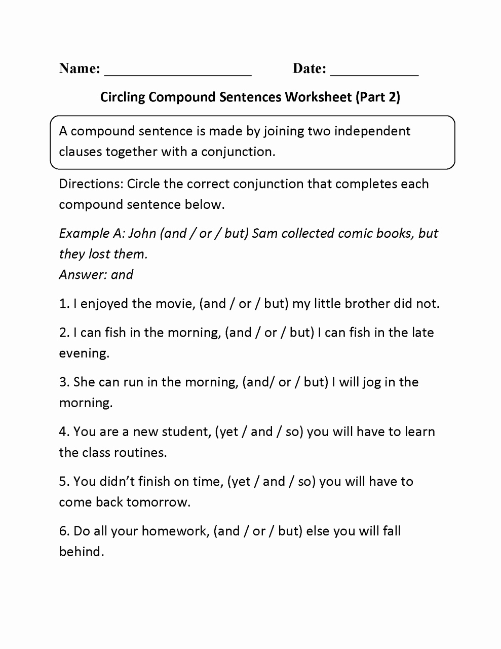 Complex Sentences Worksheets with Answers Best Of Simple Pound and Plex Sentences Worksheet with