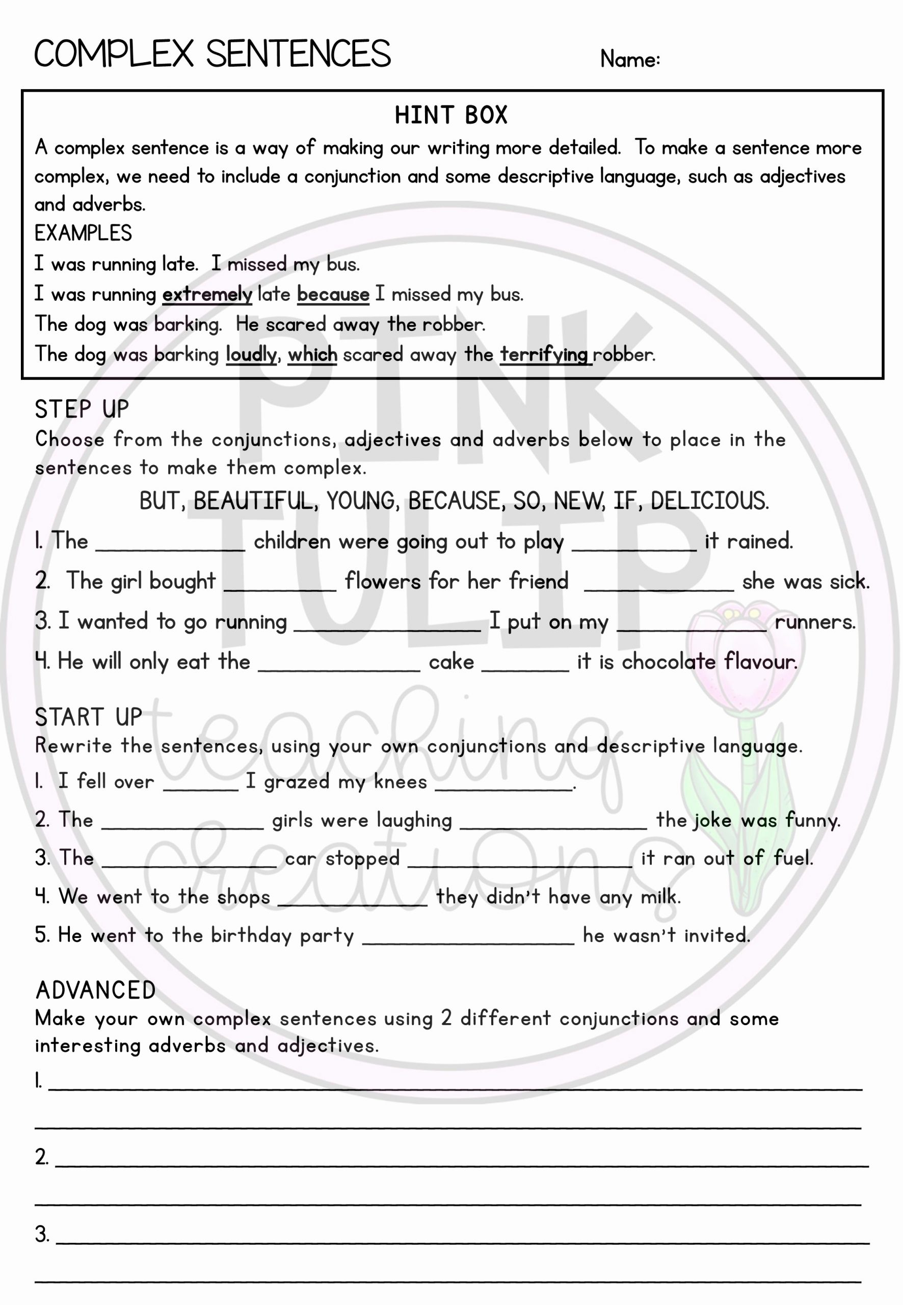 Complex Sentences Worksheets with Answers Elegant Plex Sentences Worksheet