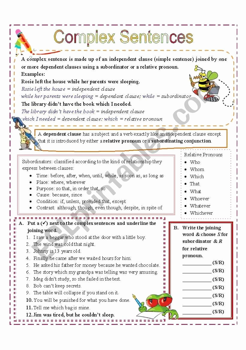 Complex Sentences Worksheets with Answers Elegant Plex Sentences Worksheets with Answers Plex Sentences