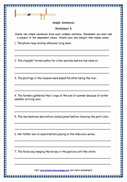 Complex Sentences Worksheets with Answers Inspirational Pound Sentences Worksheet with Answers Luxury Grade 4