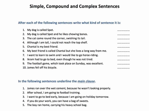 Complex Sentences Worksheets with Answers Unique 32 Pound Plex Sentences Worksheet with Answer Key