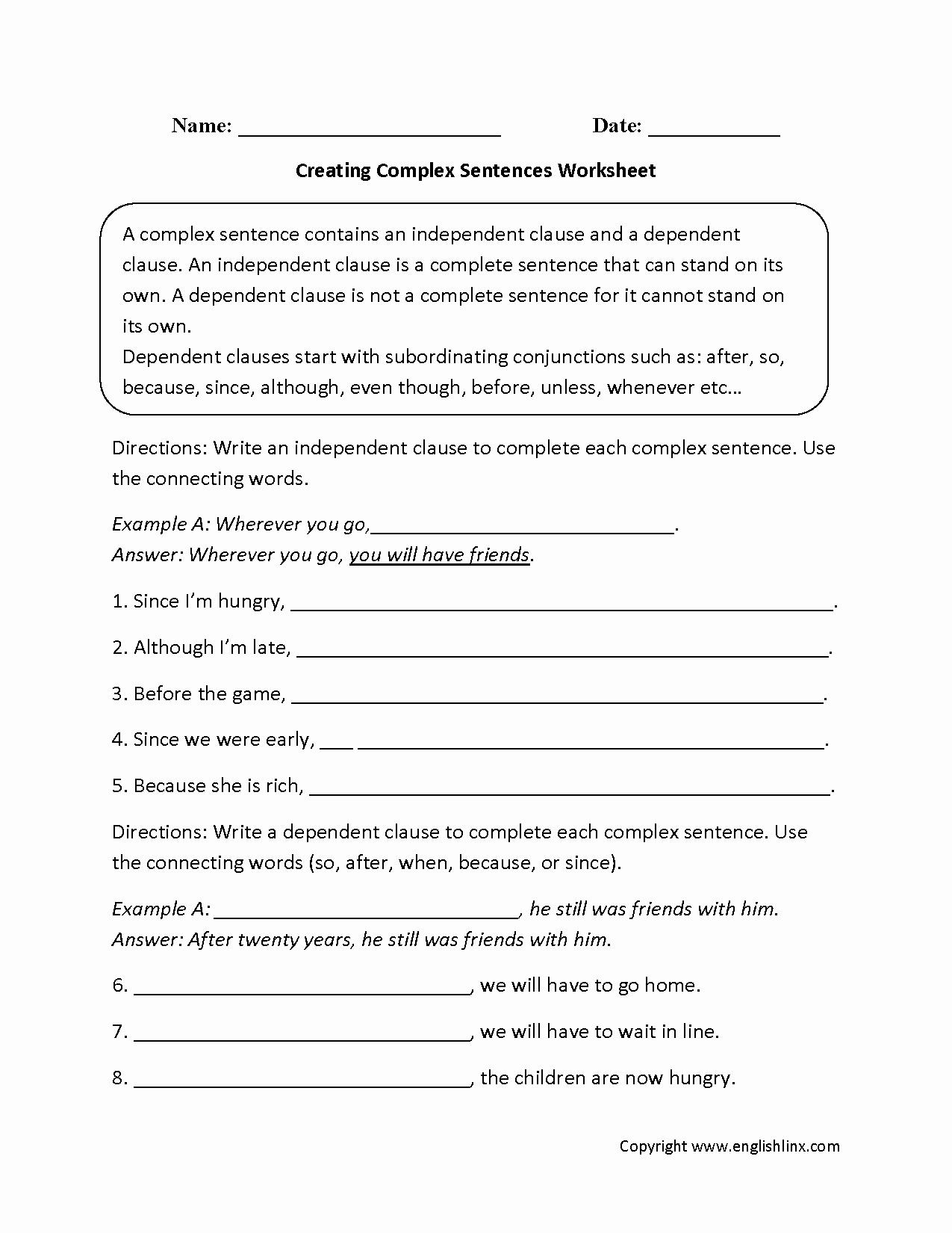 Complex Sentences Worksheets with Answers Unique Sentences Worksheets