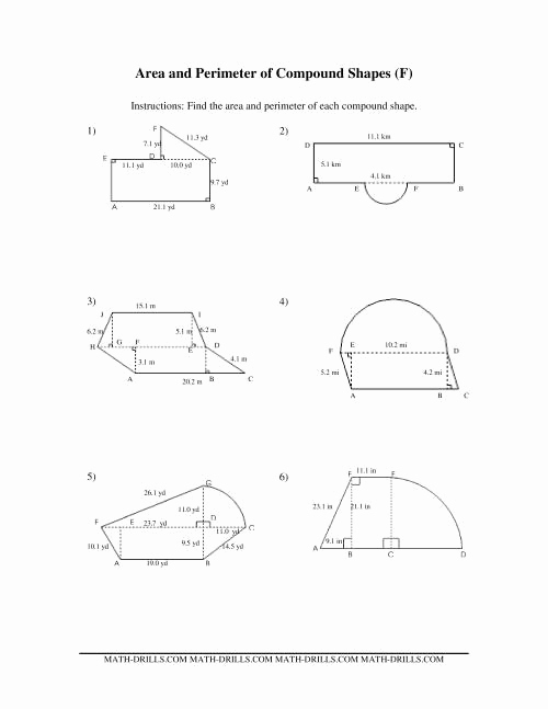 Compound area Worksheets Awesome area and Perimeter Of Pound Shapes F