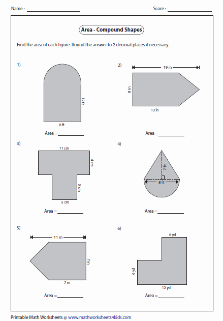 Compound area Worksheets Beautiful area Worksheets