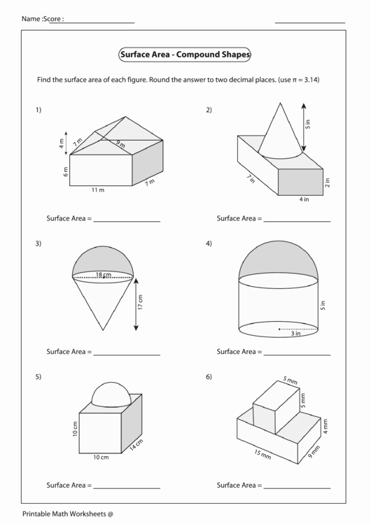 Compound area Worksheets Beautiful Surface area Pound Shapes Worksheet Printable Pdf