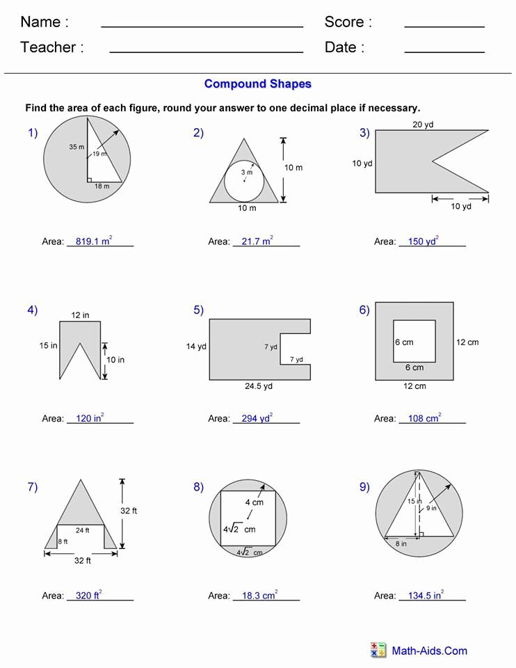 Compound area Worksheets Elegant area Pound Shape Worksheet 3 Answers – Hoeden at Home