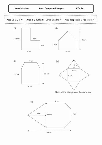 Compound area Worksheets Elegant area Pound Shapes Worksheet for 6th 8th Grade