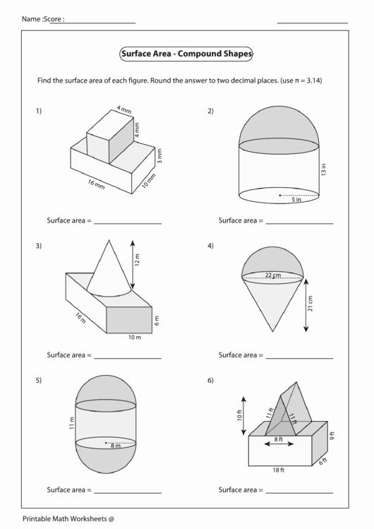 Compound area Worksheets Elegant Surface area Pound Shapes Worksheet Printable Pdf