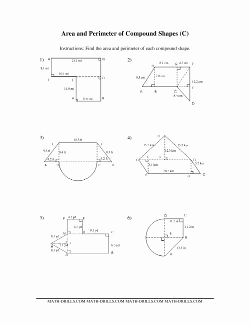 Compound area Worksheets Fresh area and Perimeter Of Pound Shapes C