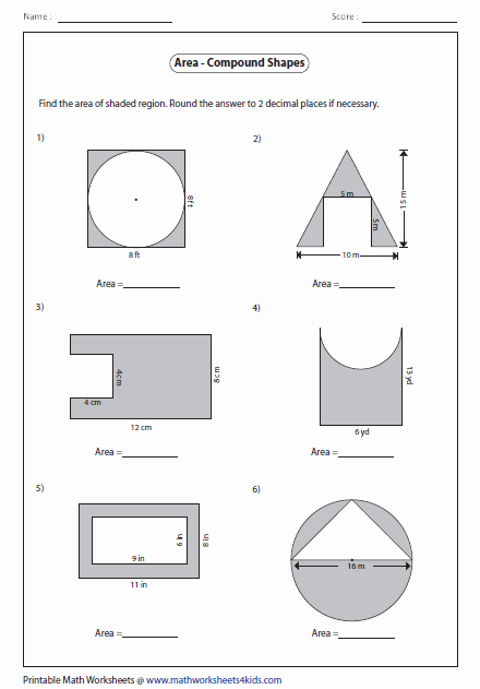 Compound area Worksheets Fresh area Of Pound Shapes Type 2