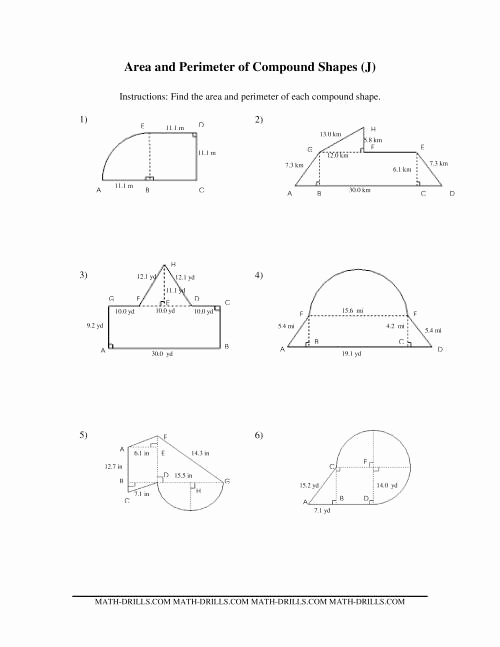 Compound area Worksheets Inspirational area and Perimeter Of Pound Shapes J