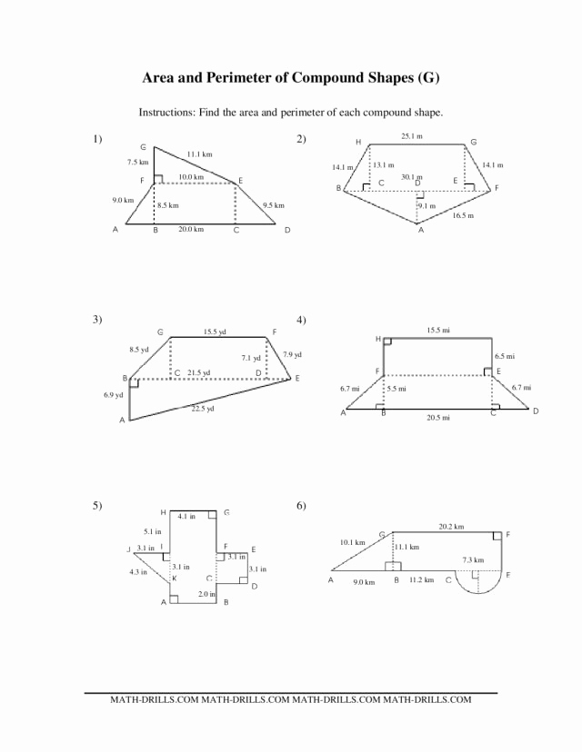 Compound area Worksheets Inspirational area and Perimeter Of Pound Shapes Worksheet for 7th