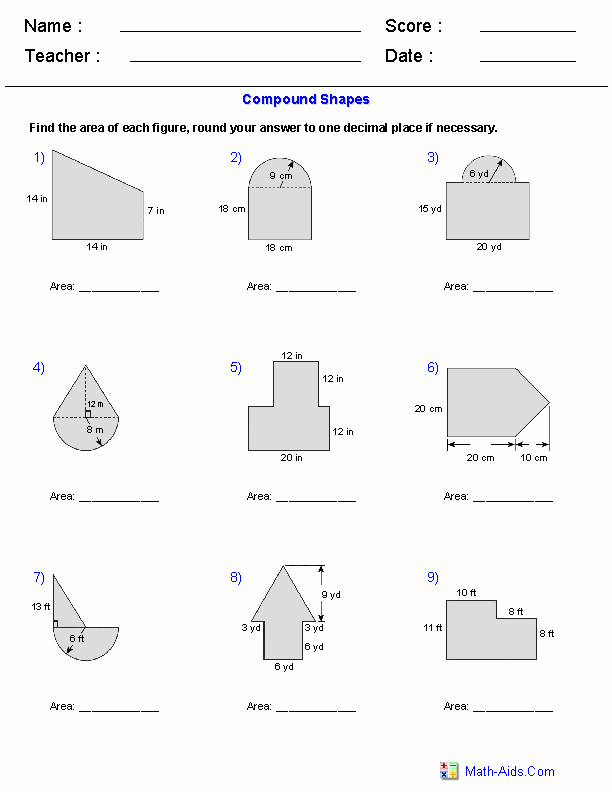 Compound area Worksheets Inspirational area Of Pound Shapes Adding Regions Worksheets