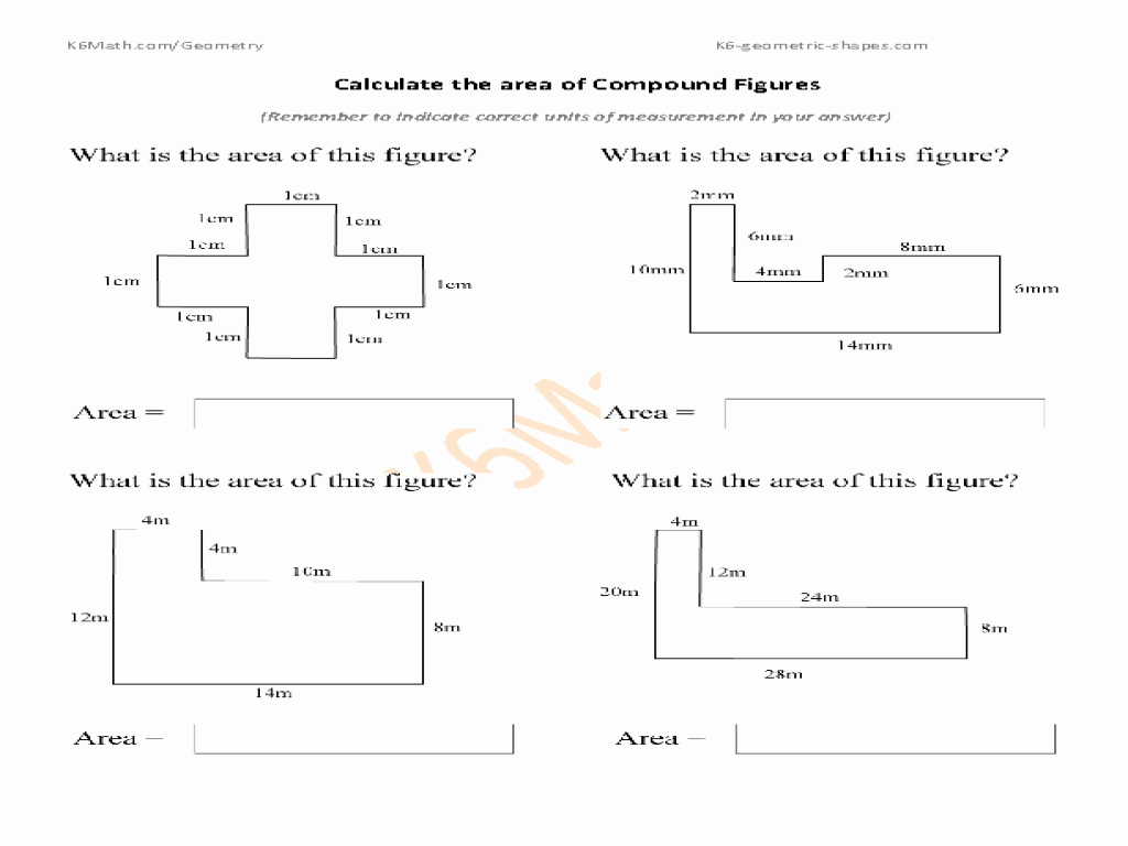 Compound area Worksheets Inspirational Calculate the area Of Pound Figures Worksheet for 6th