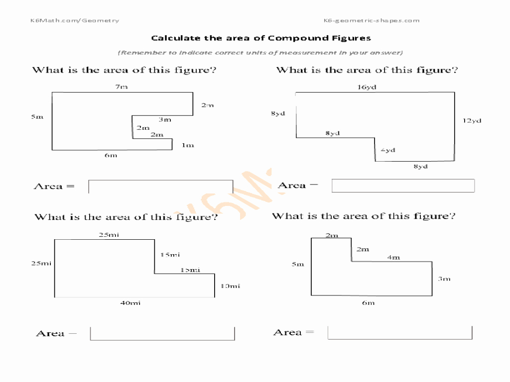 Compound area Worksheets Lovely area Of Pound Figures Worksheet for 7th 9th Grade